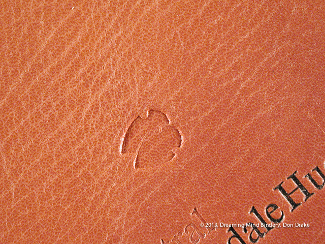 Examples of blind and foil stamping on goat leather