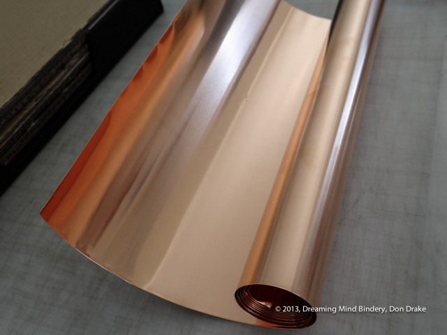 Sheet copper to be used in making a journal cover.