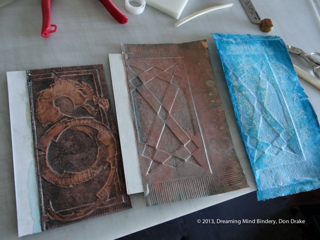 Developing a patina on a copper journal cover