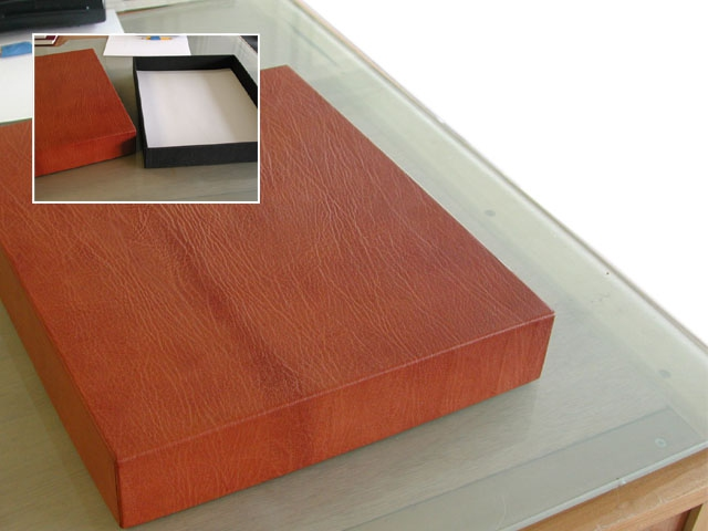 Leather box with removable lid