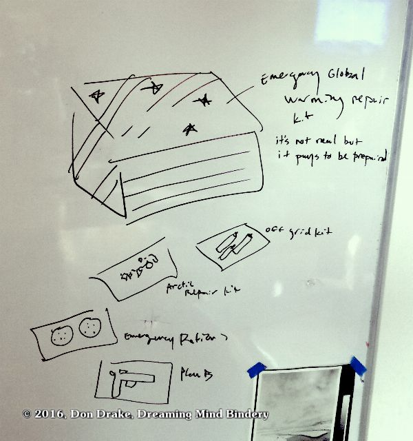 The whiteboard sketch documenting the original idea for Don Drake's edition 'Global Warming Survival Kit'