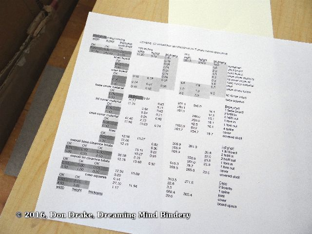 Spreadsheet output describing the cutting schedule for a clamshell box