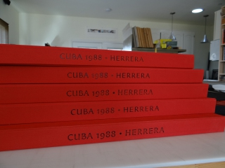 5 boxes, freshly stamped with their titles prior to the final assembly steps