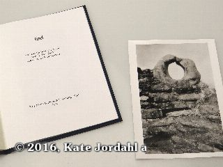 The title page and silver gelatin print included in the hard bound version of Kate Jordahl's and Don Drake's One Poem Book, End